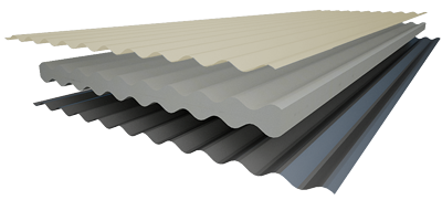 Layered cross section view illustration of insulated roofing panel with corrugate steel sheeting on both sides